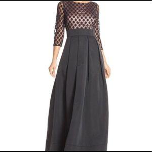 Eliza J Long Coctail Dress Black NWT Polka Dots 1